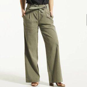FIG Linen Lyocell DAO Green Wide Leg Pants Sz 10